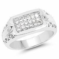 0.54CTW White Cubic Zircon .925 Sterling Silver Ring
