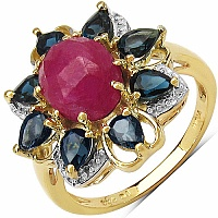 2.60CTW Genuine Pink Sapphire & Blue Topaz 14K Yellow Gold P