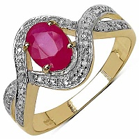 1.00CTW Genuine Ruby 14K Yellow Gold Plated .925 Sterling Si