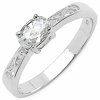 0.84CTW White Cubic Zircon .925 Sterling Silver Ring