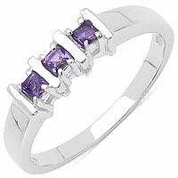 0.15CTW Genuine Amethyst .925 Sterling Silver Ring