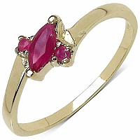 0.36CTW Genuine Ruby 14K Yellow Gold Plated .925 Sterling Si