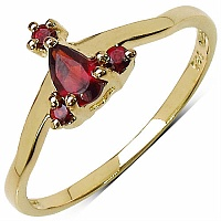 0.31CTW Genuine Garnet 14K Yellow Gold Plated .925 Sterling Sil