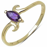 0.25CTW Genuine Amethyst .925 Sterling Silver Ring