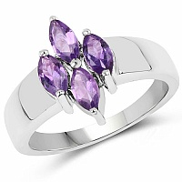 1.00CTW Genuine Amethyst .925 Sterling Silver Ring