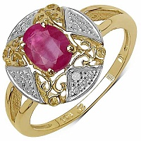 1.01CTW Genuine Ruby & White Diamond 14K Yellow Gold Plated