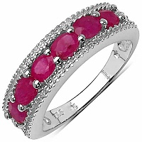 1.51CTW Genuine Ruby & White Diamond .925 Sterling Silver Ri