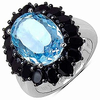 11.02CTW Genuine Blue Topaz & Black Spinel .925 Sterling Sil