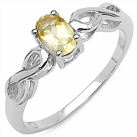 0.45CTW Genuine Citrine Solitaire .925 Sterling Silver Ring