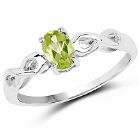 0.45CTW Genuine Peridot Solitaire .925 Sterling Silver Ring