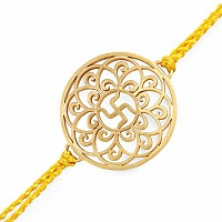 Gold Plated Brass 'Swastika' Rakhi