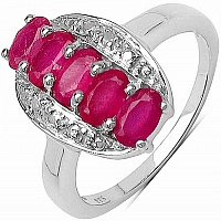 1.57CTW Genuine Glass Filled Ruby & White Diamond .925 Sterl