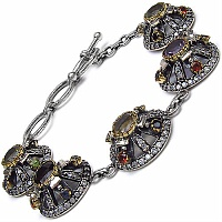 24.70 Grams Multigemstones Silver & Copper Bracelet
