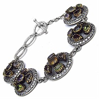 28.90 Grams Multigemstones Silver & Copper Bracelet