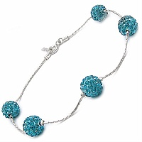 3.00CTW Sky Blue Crystal .925 Sterling Silver Ball Shape Bracel