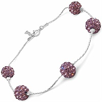 3.00CTW Purple Crystal .925 Sterling Silver Ball Shape Bracelet