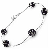 3.00CTW Black & White Crystal .925 Sterling Silver Ball Shape B