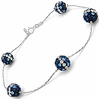 3.00CTW Blue & White Crystal .925 Sterling Silver Ball Shape Br