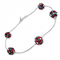3.00CTW Multicolor Crystal .925 Sterling Silver Ball Shape Brac