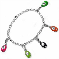 11.60 Grams Multicolor Enamel .925 Sterling Silver Shoe Charms