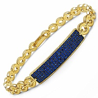 1.23CTW Blue Cubic Zirconia Gold Plated .925 Sterling Silver Br