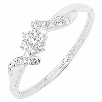 21.50 Grams White Cubic Zircon .925 Sterling Silver Bangle