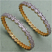 15.60 Grams White Cubic Zirconia Gold Plated Brass Bangles