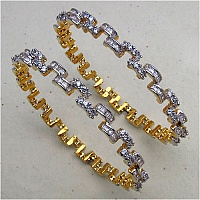 15.90 Grams White Cubic Zirconia Gold Plated Brass Bangles