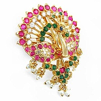 15.80 Grams Multistone with Enamel Gold Plated Brass Peacock