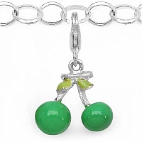 3.30 Grams Rhodium Plated .925 Sterling Silver Green Enamel Cha