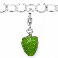 2.60 Grams Rhodium Plated .925 Sterling Silver Strawberry Sh