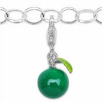 2.20 Grams Rhodium Plated .925 Sterling Silver Green Enamel