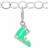 6.76 Grams Rhodium Plated .925 Sterling Silver Shoes Shape Gree