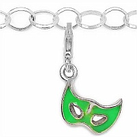 1.20 Grams Rhodium Plated .925 Sterling Silver Mask Shape Gr