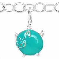 2.90 Grams Rhodium Plated .925 Sterling Silver Turquoise Ena