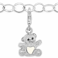 7.46 Grams Rhodium Plated .925 Sterling Silver Teddy Shape Whit