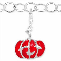 2.40 Grams Rhodium Plated .925 Sterling Silver Red Enamel Ch