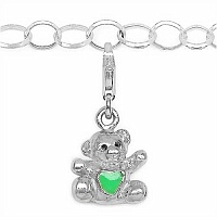 7.36 Grams Rhodium Plated .925 Sterling Silver Teddy Shape Gree