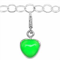 2.30 Grams Rhodium Plated .925 Sterling Silver Green Enamel