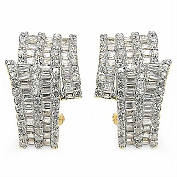 9.80 Grams White Cubic Zirconiaia Gold Plated Earrings