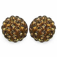 1.20CTW Brown Crystal .925 Sterling Silver Earrings