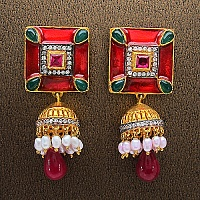 18.60 Grams MultiStone Gold Plated Brass Red Enamel Earrings