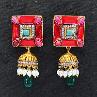 18.30 Grams MultiStone Gold Plated Brass Red Enamel Earrings
