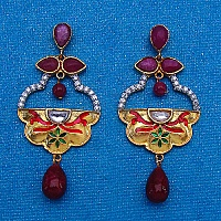 12.00 Grams MultiStone Gold Plated Brass Multicolor Enamel Earr