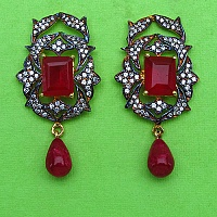 9.20 Grams Red Stone & White Cubic Zirconia Gold Plated Brass E