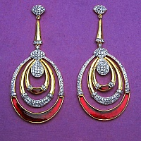 23.70 Grams White Cubic Zirconia Gold Plated Brass Red Enamel E