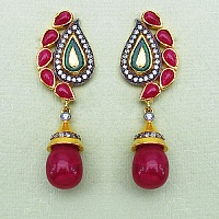 13.80 Grams Red Stone & White Cubic Zirconia Gold Plated Brass