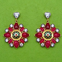 12.20 Grams Red Stone & White Cubic Zirconia Gold Plated Brass