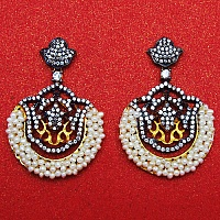 11.30 Grams White Cubic Zirconia & White Synthetic Pearl Gold P