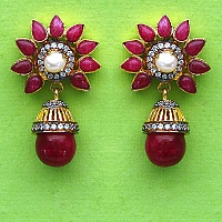 15.00 Grams Multistone Gold Plated Brass Earrings
